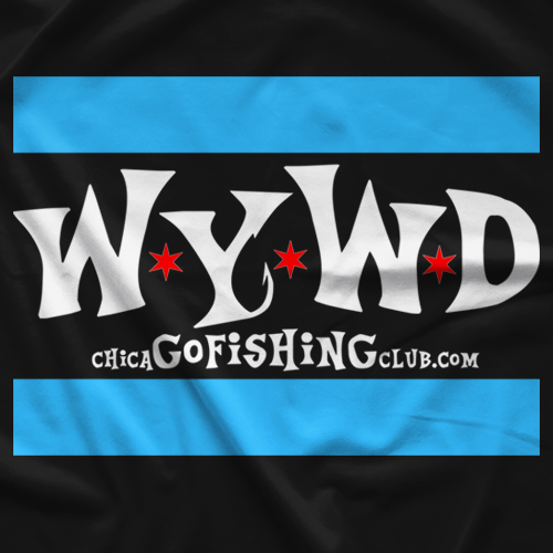 Chicago Fishing Club WYWD Flag Black T-shirt